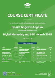 Сертификат на Даниел Ангелов Ангелов за Digital Marketing and SEO към Software University