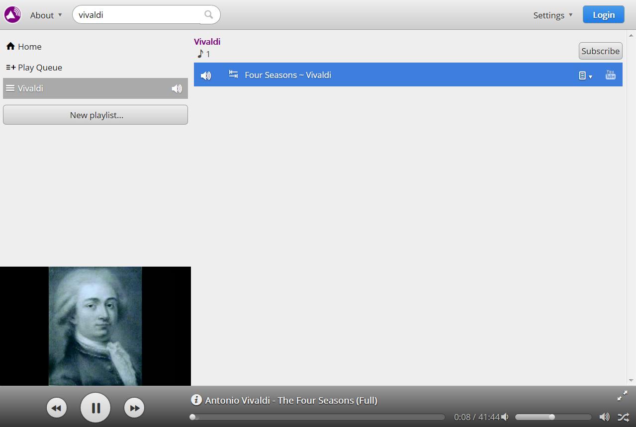 Онлайн плейлист в Youtify с един добавен клип