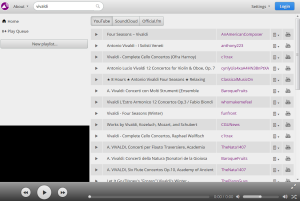 Резултати от търсенето с цел създаване на онлайн плейлисти в Youtify