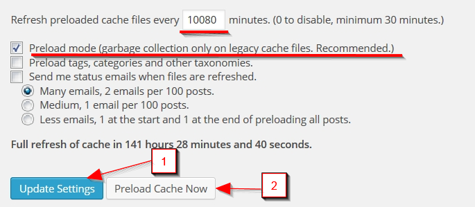 Preload настройки за WP Super Cache