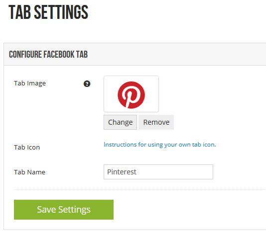 Меню tab settings за Pinterest таб-а за вашата Facebook страница