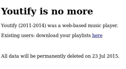 инструментът за онлайн плейлисти Yotify вече не работи
