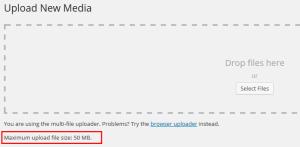 WordPress upload limit е увеличен успешно до 50 MB