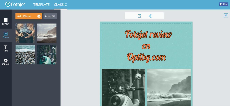Добавяне на снимка във FotoJet и пример за колаж в Classic режим
