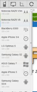 Избор на изглед за тест на мобилна версия на сайт чрез Screenfly