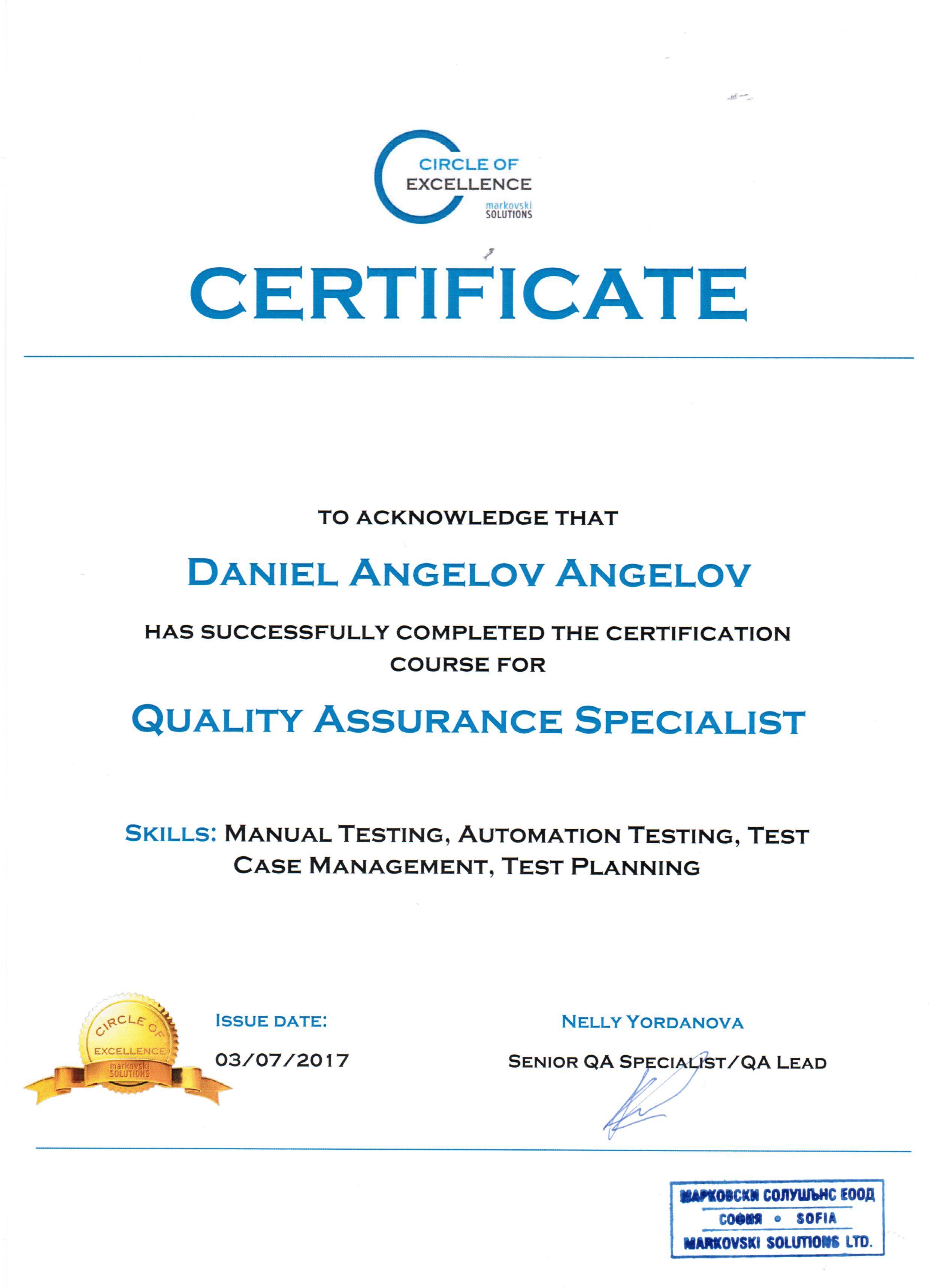 Сертификат на Даниел Ангелов за Quality Assurance Specialist от Markovski Solutions' Circle of Excellence