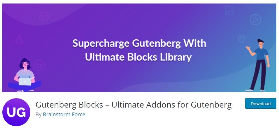 Много допълнителни блокове за Gutenberg чрез разширението за WordPress Gutenberg Blocks – Ultimate Addons for Gutenberg